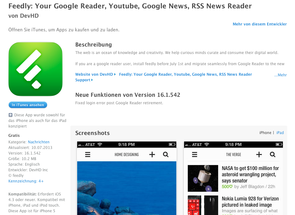 Feedly iTunes Screenshot